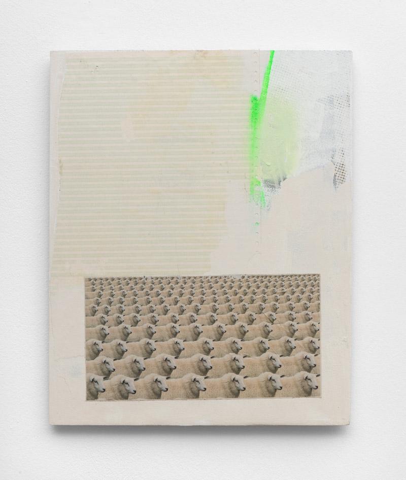 Schwarze-Schafe,-Andreas-Diefenbach,-2017,-50-×-41-cm,-Collage,-Acryl,-Siebdruck-und-Lack-auf-Holz